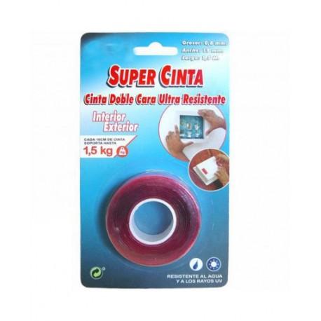 CINTA DOBLE CARA ULTRA RESISTENTE 19 mm x 1,5 mtrs